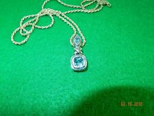 """9mm Blue Topaz square/marquise X Pendant & 20"""" Sterling Rope Chain"""