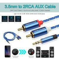 3.5mm Male to 2 RCA Male Aux Audio Cable For Home Theater Amplifier Phone Edifer