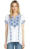 Johnny Was Azure Embroidered Boho Draped Top Tunic Size Small $220