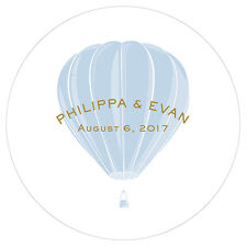 Vintage Travel Hot Air Balloon Personalized Round Acrylic Wedding Cake Topper