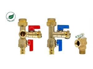 Expansion PEX-A 3/4'' Tankless Water Heater Isolation Valve Kit, w/ Relief Valve