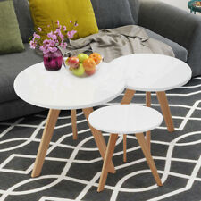 NEST OF 3 HIGH GLOSS SIDE TABLES COFFEE SET SCANDINAVIAN END LIVING NESTED TABLE
