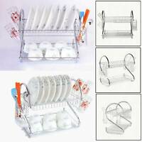 2 Tier Chrome Dish Cup Drainer Kitchen Drip Tray Plates Cutlery Rack Holder UK