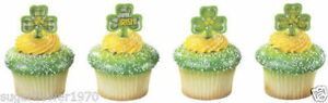 St Patricks Day Irish Cake Pics Shamrock Cupcake Toppers Decorations x 12