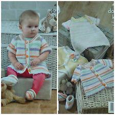 KNITTING PATTERN Baby Garter Stitch Dress Cardigan, Bolero &Bootees DK KC 4207