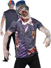 Mens Zombie School Boy Costume T-shirt + Cap Scary Halloween Fancy Dress M-L