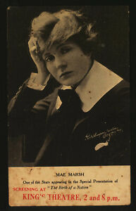 Vintage Postcard ~Movie Advertising~ Actress MAE MARSH ~The Birth of a Nation
