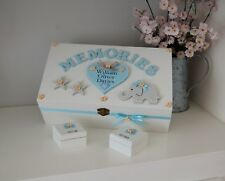 Baby Memory Box Elephant Design Wooden Christening Gift Keepsake Box