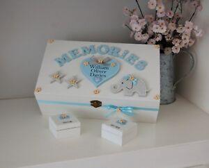 Elephant and Star Memory Box, Wooden Keepsake Box, New Baby Boy Gift, Newborn