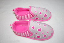 Girls Slippers GRAY w/ PINK HEARTS STRIPES Rubber Sole House Shoes S 11-12