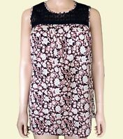 NEW Ex M&S Ladies Navy Floral Casual Sleeveless Cotton Summer Top Size 10 - 24