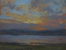 Ian CRYER ROI (1959) - olio impressionisti del tramonto sul fiume Severn?