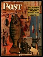 1946 Saturday Evening Post Cover New Metal Sign: Fishing Lures & Pole Theme
