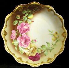 """Antique Coiffe et Cie Limoges France 10"""" Ornate Rose Floral Porcelain Bowl"""