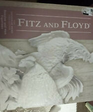 Fitz and Floyd Creamy White Savannah Rooster and Hen Figurines New open box