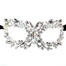 Women's Clear Oval Crystal Glass, Rhinestone Royal Venetian Masquerade Eye Mask