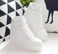 Women's Round Toe White Platform High Top Lace Up Wedge Sneakers Trainers Shoes