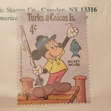 Disney stamp: Mickey Mouse Fishing Turks & Caicos 1979 One Mint stamp Mnh
