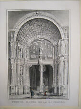 Mallorca,Catedral puerta. Litografia original .Furió. Mallorca 1840