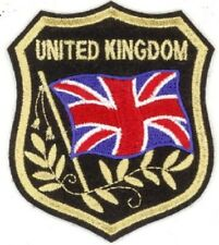 """50 Pcs Uk United Kingdom Flag in shield Embroidered Patches 3.25""""x2.75"""" iron-on"""