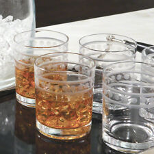 Etched Band Classic Style Bar Glass Set 12 | Double Old Fashioned Highball 4""