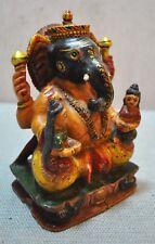 Original Antique Fine Hand Carved Hand Painted Wooden God Ganesha Idol Figurine
