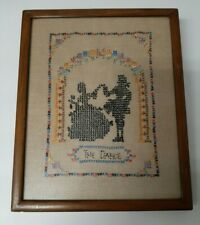 "Framed Antique Sampler. Simply ""The Dance"" A Victorian Couple. Very Sweet!"