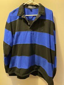 Polo Ralph Lauren Rugby Long Sleeve Mens XL Striped Black Blue