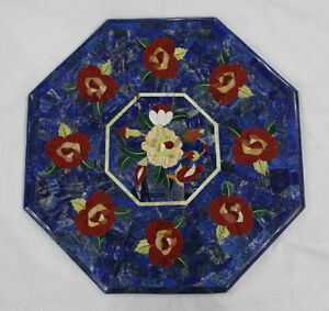 "18"" Marble Table Top Lapis Handmade Inlay Art Pietra dura Home Decor"