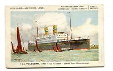 Vintage Postcard HOLLAND AMERIKA Cruise Line Ship TSS VOLENDAM America