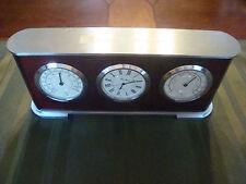 Bey Berk Clock Hygrometer Thermometer Wood grain silver mantle desk QUARTZ time