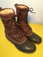 """LL BEAN BOOTS Tumbled Shearling Fur Lined Brown Leather 10"""" Lace Up Woman's 7"""