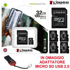 MICRO SD KINGSTON 16 32 64 128 GB CLASS 10 100MB/s SCHEDA MEMORIA + LETTORE USB