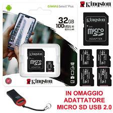 MICRO SD KINGSTON CANVAS 16 32 64 128 GB 100MB/s SCHEDA MEMORIA + LETTORE USB