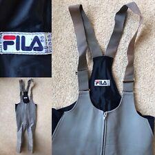 Retro Vintage FILA Dungarees Salopettes Bib Neoprene Grey Flare Zip Cuff Medium