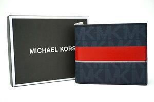 Michael Kors Men's Jet Set Logo Baltic Blue & Bright Red Stripe Billfold Wallet