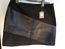 Oasis black faux Leather/Suede mini skirt Size 14 bnwt RRP £36 mx6
