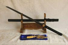 BLACK STEEL BLADE Hand Forged Japanese Ninjato Sword Black Kuro Chokuto Blade