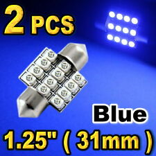 "2x 1.25"" 31mm Festoon 12-SMD Map Dome Ultra Blue LED Lights Bulbs DE3157 DE3022"