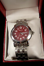 NEW IN BOX EBERLE MEN'S STAINLESS STEEL BRACELET WATCH WITH A BURGUNDY DIAL