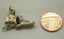 Vintage Lovely 9ct Gold Boot Charm With Enamelled bride And Groom Inside
