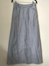 Poetry Women Skirt Size 6 Long Full Length Pockets Maxi Chambray 100% Linen
