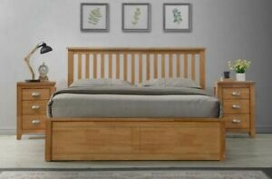 LAVISH SOLID WOODEN OTTOMAN STORAGE BED FRAME IN OAK FINISH **FREE DELIVERY***