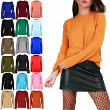 Womens Ladies Knitted Long Sleeve Sweater Round Cable Neck Jumper 4 Button Top