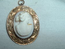 Cameo Pin Pendant In Gift Box Antique Estate 10K Gold Angelskin Coral