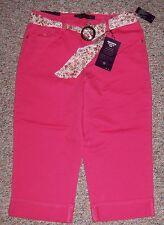 GLORIA VANDERBILT Watermelon Denim Amanda Capris Jeans with Cuff Belt Size 12