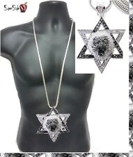 """Star Of David Jewish Hip Hop Iced Out Lion Pendant Silver 36"""" Franco Chain"""