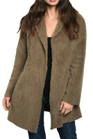 Women's Juniors Open Front Hooded Sherpa Cardigan Coat Jacket with Pockets