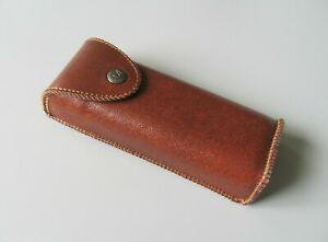 Vertical Waist Case for Glasses, Brown PU Leather Eyeglasses Belt Case