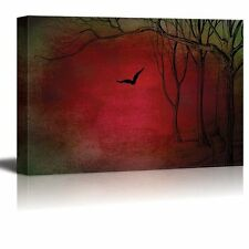 Illustration of Trees and a Crow Over a Red and Green Texture-Canvas Art - 12x18